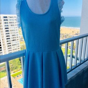 White Mark Light Blue Tank Pleated Dress Size XL